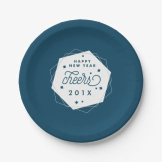 Geometric Cheer | 2017 New Year's Eve Party 7 Inch Paper Plate