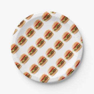 Geometric Cheeseburger Paper Plates Art