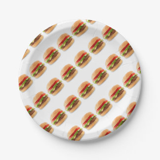 Geometric Cheeseburger Paper Plates Art 7 Inch Paper Plate