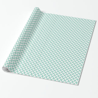 Geometric Chevron Mint and Off White Giftwrap Wrapping Paper
