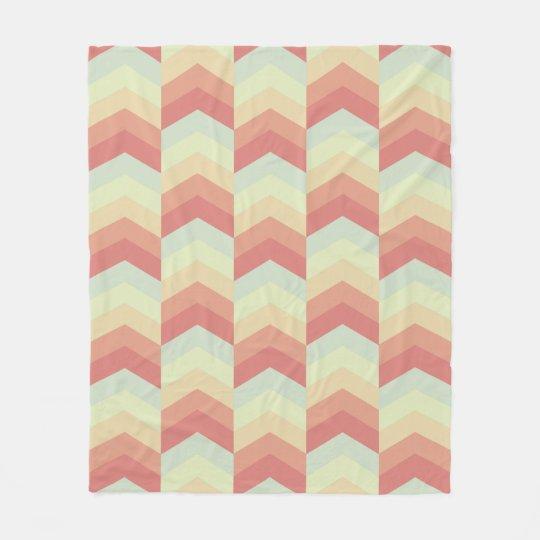 Geometric Chevron Pattern Cool Pastel Colours Fleece Blanket