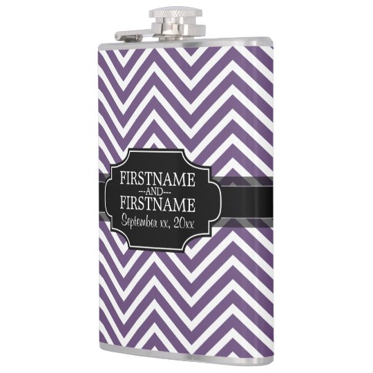 Geometric Chevron Pattern with Anniversary Date Hip Flask