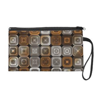 Geometric chocolate pattern wristlet purses