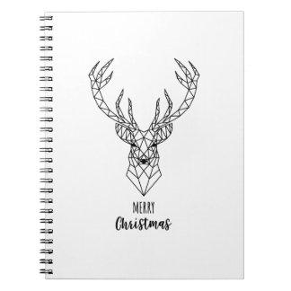 Geometric Christmas deer head Notebooks