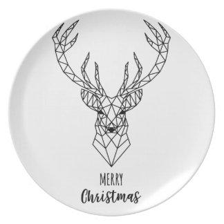 Geometric Christmas deer head Plate