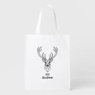 Geometric Christmas deer head Reusable Grocery Bag