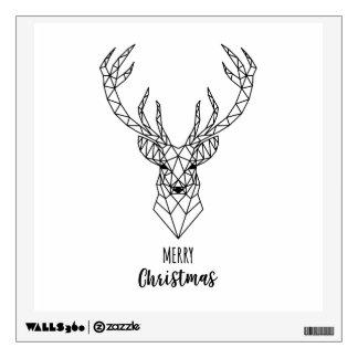 Geometric Christmas deer head Wall Decal