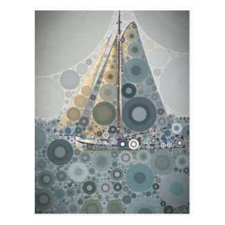 Geometric circle Sailing Boat art gifts by LeahG Postcard