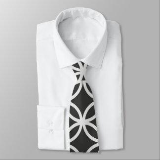 Geometric Circles Black & White Men's Necktie