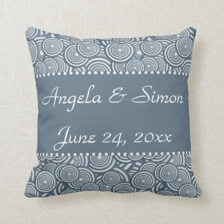 Geometric circles in blue wedding commemorative throw pillow