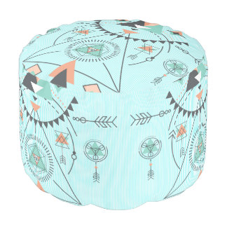 Geometric Colorful Abstract  Tribal Totem Pouf