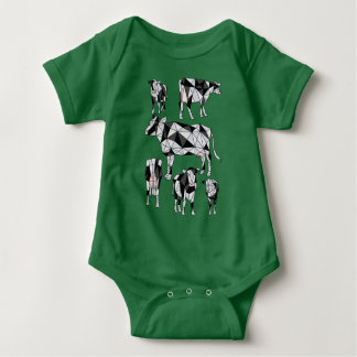 Geometric Cows Baby Bodysuit