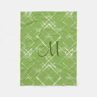geometric crisscross pattern green w monogram fleece blanket