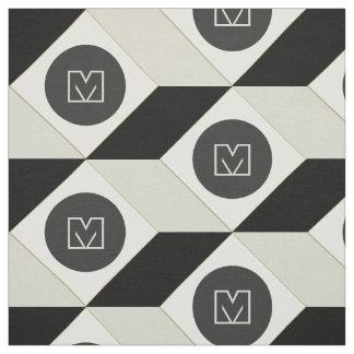 Geometric Cube Pattern Monogram Fabric