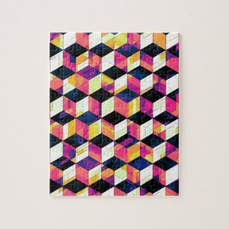 Geometric Cubes Pop Art Jigsaw Puzzle