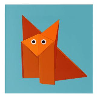 Geometric Cute Origami Fox Acrylic Wall Art