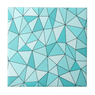 Geometric Cyan Triangles Modern Ceramic Tile