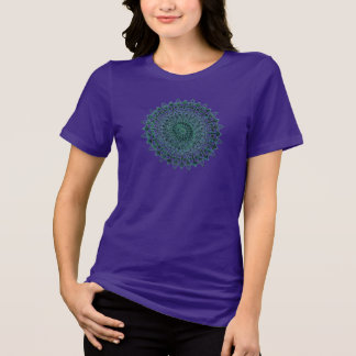 Geometric Design w/ Aqua Blues & Greens on Purple T-Shirt