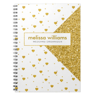 Geometric Design & White & Gold Hearts Pattern Notebooks