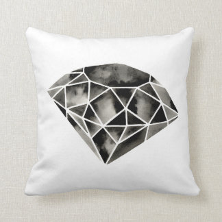 Geometric Diamond . Modern . Black White . Pillow