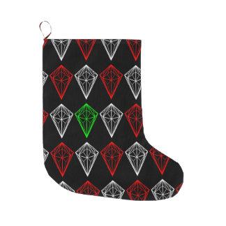 Geometric Diamond, Ruby and Sapphire Pattern Large Christmas Stocking