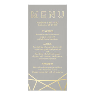 Geometric   Dove Grey and Gold Menu Personalized Rack Card
