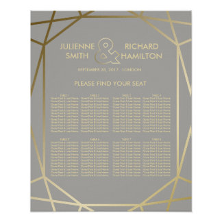 Geometric   Dove Grey and Gold Seating Chart Poster