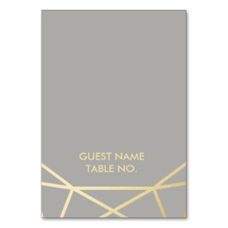 Geometric | Dove Grey and Gold Wedding Escort Card