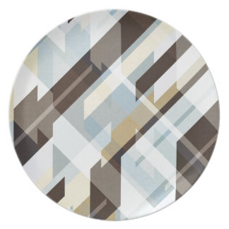 Geometric Earth Tones Abstract Dinner Plate