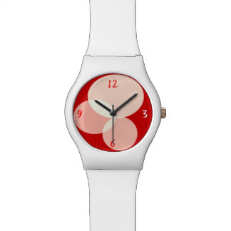 Geometric Ellipse Abstract Modern Red White Trendy Watch