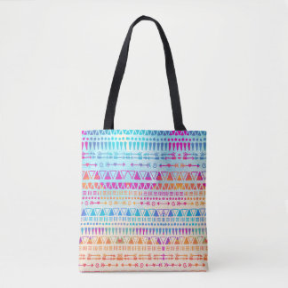Geometric Ethnic Bohemian Colorful Hand Printed Tote Bag