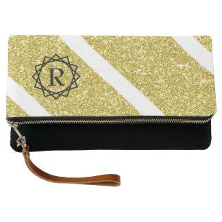 Geometric faux gold glitter black monogram clutch
