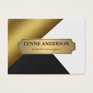 Geometric Faux Gold Leather Wavy Color Blocks Business Card