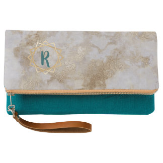 Geometric faux gold marble teal monogram clutch