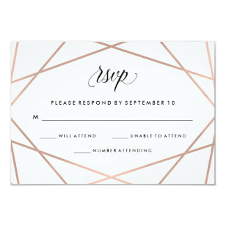 Geometric Faux Rose Gold and Black Wedding RSVP Card