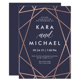 "Geometric Faux Rose Gold on Midnight Blue Wedding 5"" X 7"" Invitation Card"