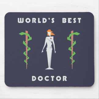 Geometric Female World's Best Doctor Mouse Pad