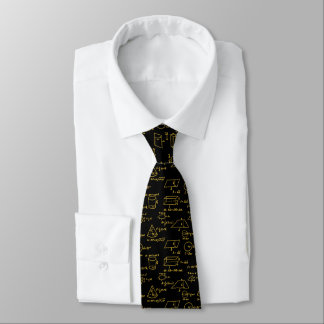 Geometric Figures and Math Eqns - Metallic Gold Tie