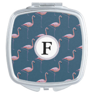 Geometric Flamingo Print Customisable Initial Mirror For Makeup