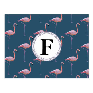 Geometric Flamingo Print Customisable Initial Postcard