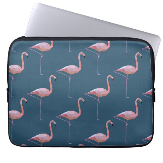 Geometric Flamingo Print Teal Laptop Sleeve