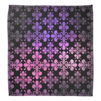 Geometric Fleur de lis damask pattern pink purple Bandana