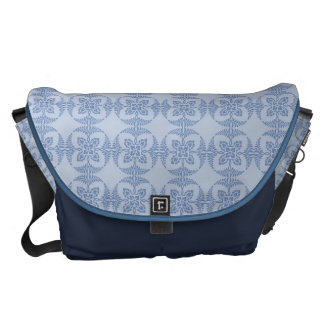 Geometric Floral in Light Blue Courier Bags