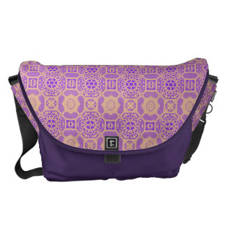Geometric Floral in Purple and Orange Courier Bags