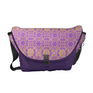 Geometric Floral in Purple and Orange Messenger Bag