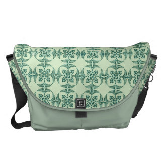 Geometric Floral Pattern in Green Courier Bag