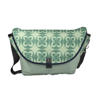 Geometric Floral Pattern in Green Messenger Bags