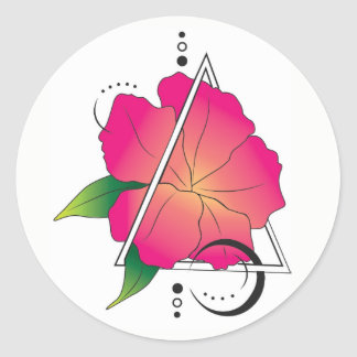 Geometric Flower Classic Round Sticker