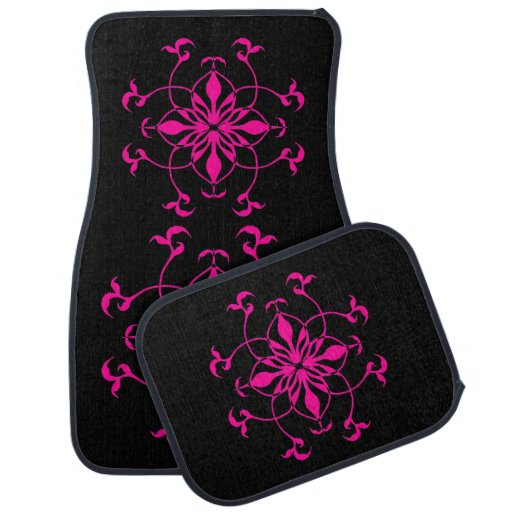 Geometric flower in hot pink and black floor mat