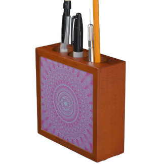 Geometric flower mandala desk organizer